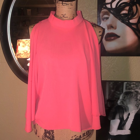 Love in Tops - Love In Coral Mock Neck, Cut Shoulders Flow Top